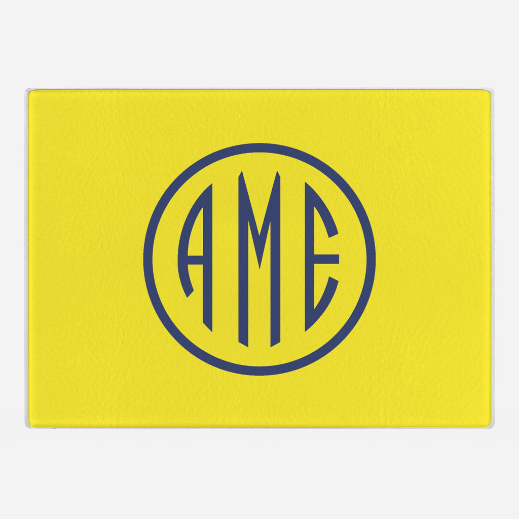 Yellow and Navy Monogram Glass Cutting Board