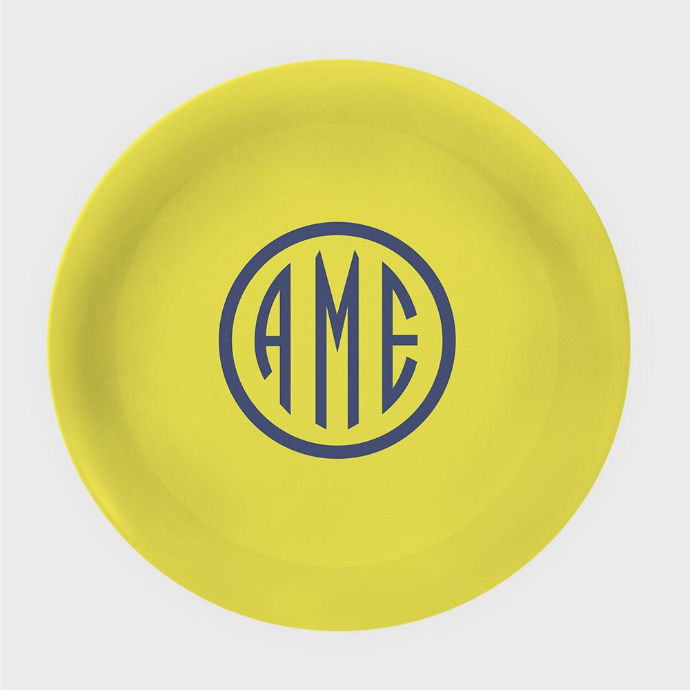 Yellow and Navy Monogram Melamine Plate