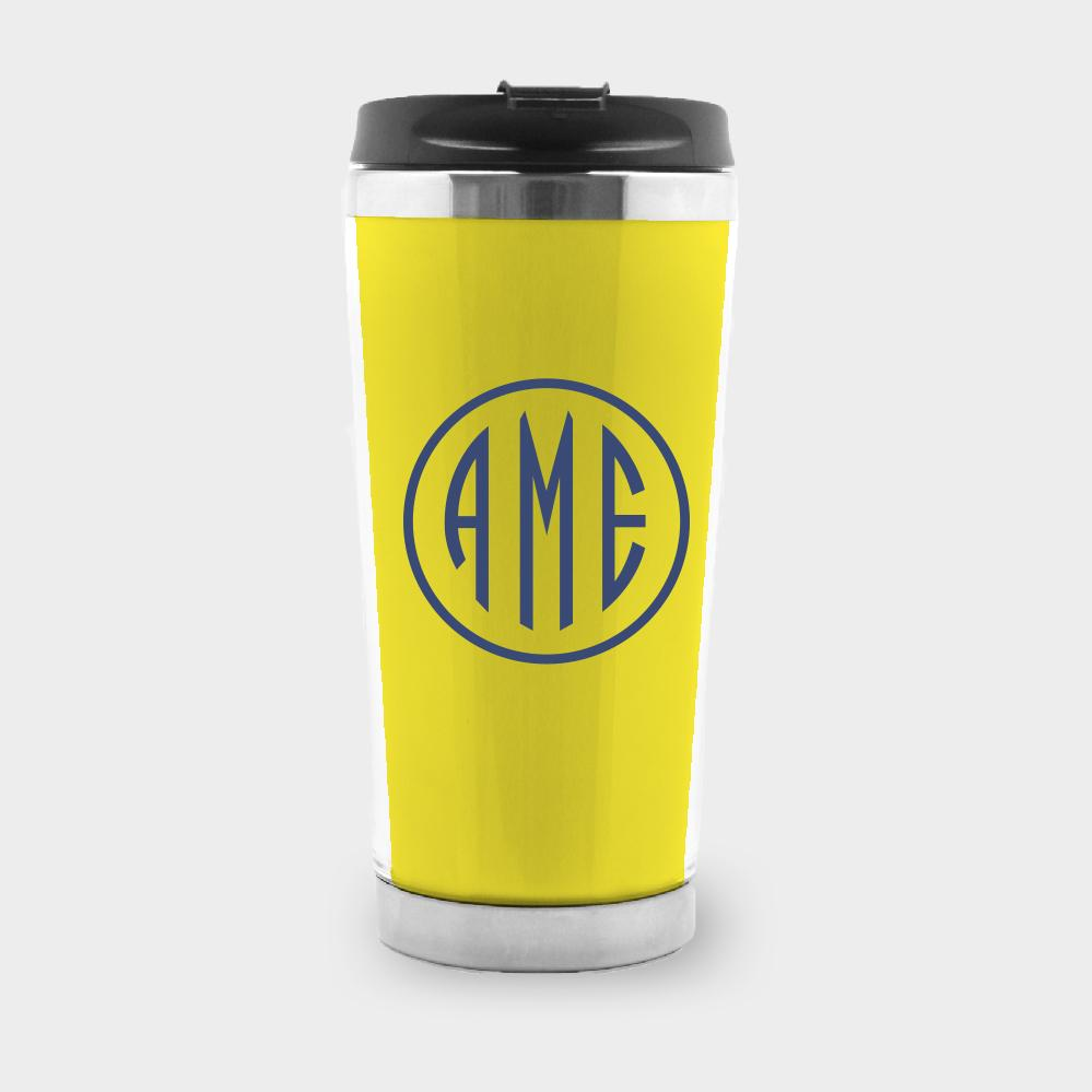 Yellow and Navy Monogram Travel Tumbler