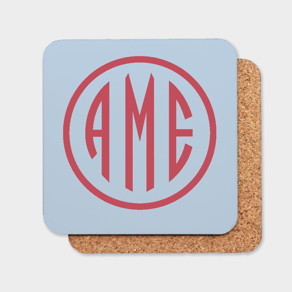 Bluebell and Red Monogram Coaster