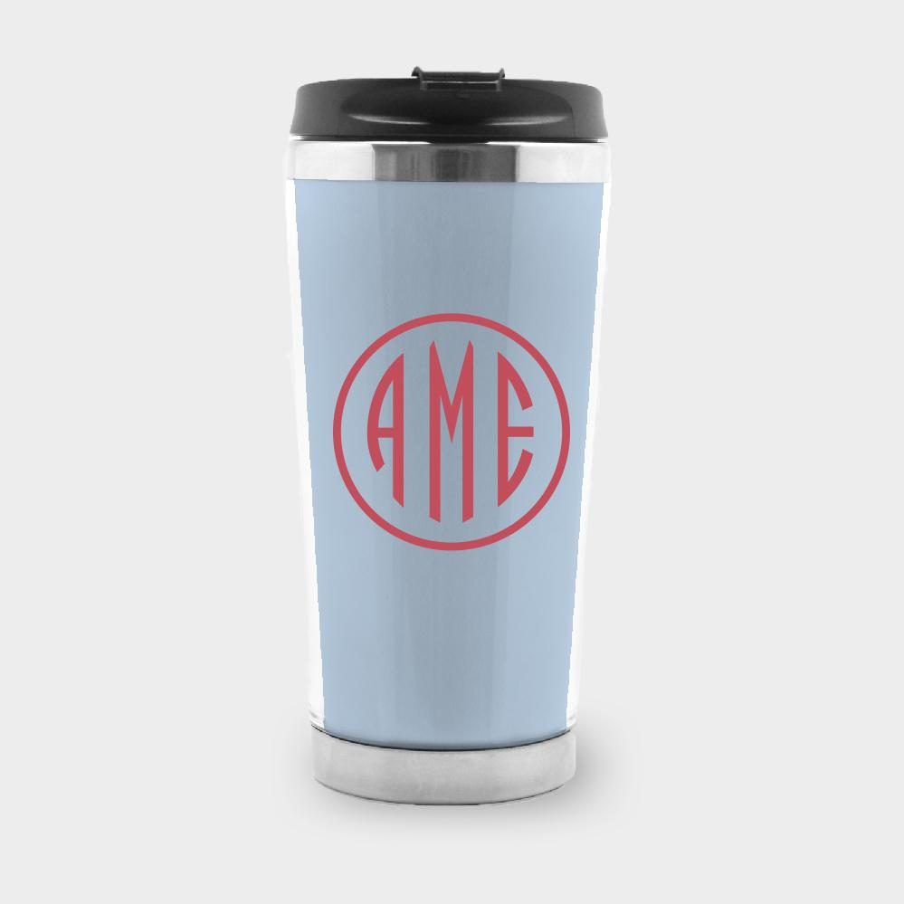 Bluebell and Red Monogram Travel Tumbler