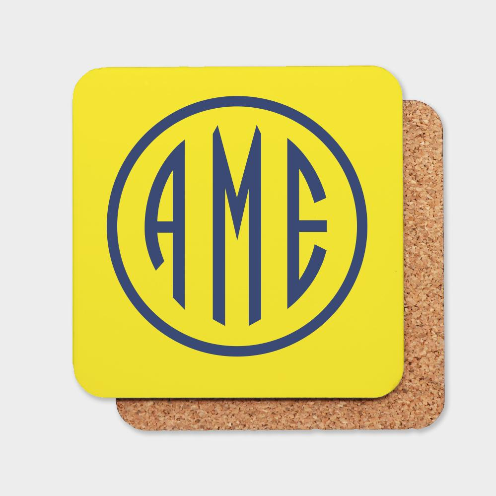 Yellow and Navy Monogram Coaster