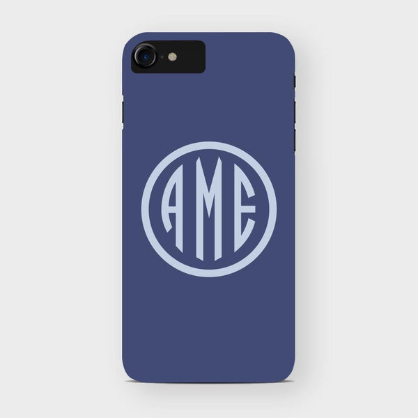Navy and Bluebell Monogram iPhone Case