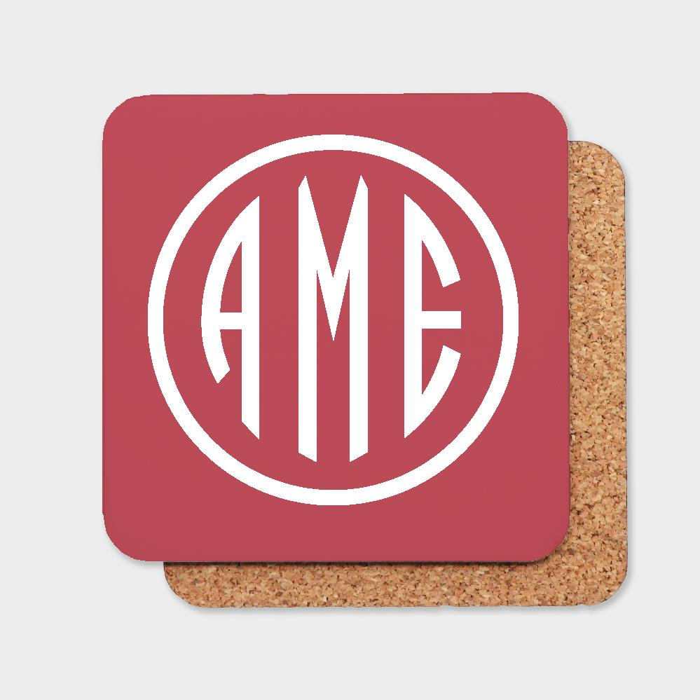 Red and White Monogram Coaster