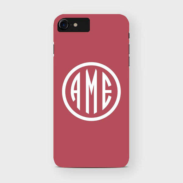 Red and White Monogram iPhone Case