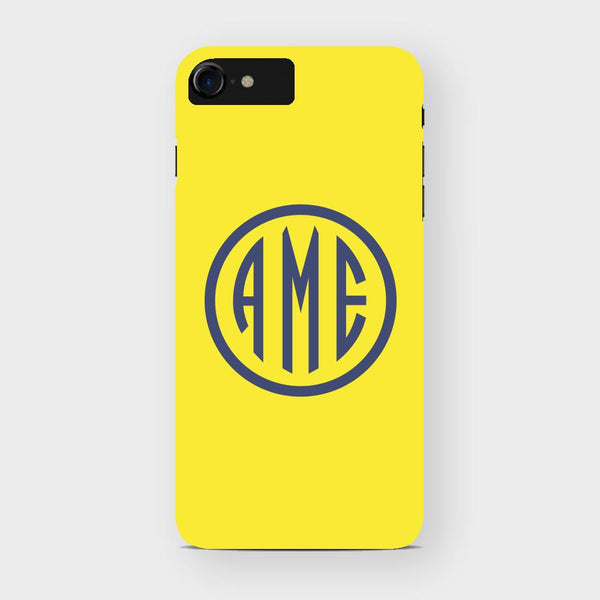 Yellow and Navy Monogram iPhone Case