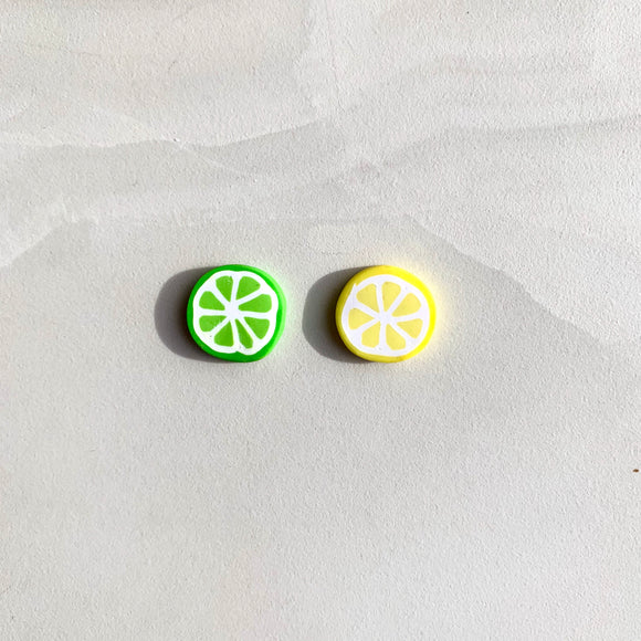 Large Studs - Mismatched Lemon and Lime Slice