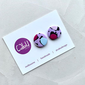Medium Studs - Purple Leopard