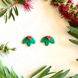 Large Studs - Christmas Holly
