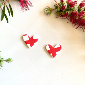 Heart Studs - Red and a White Gingham