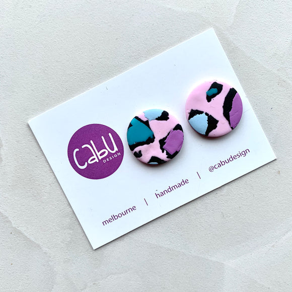 Large Studs - Pink Leopard
