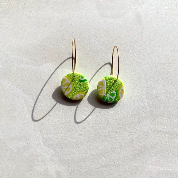 Large Stud Hoops - Lemon and Lime