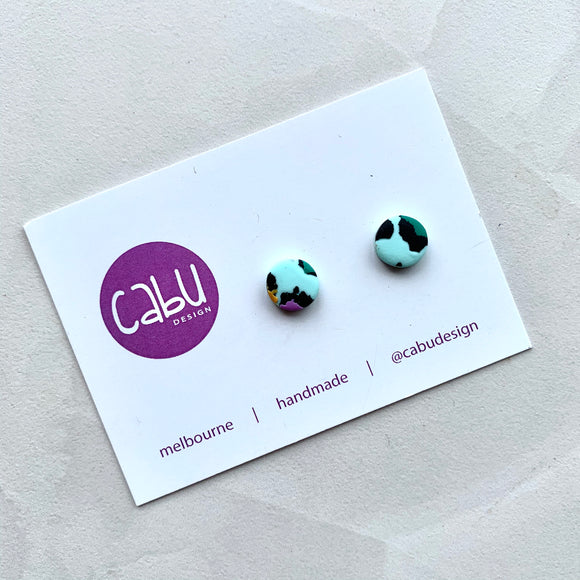 Mini Studs - Mint Leopard