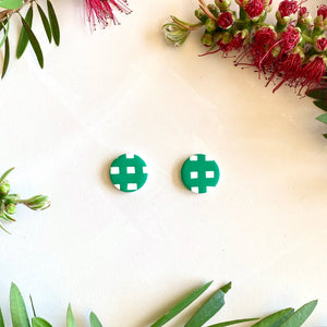 Medium Studs - Green Christmas Gingham