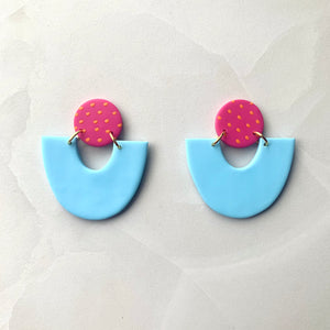 Evora - Powder Blue with Pink Spot Stud
