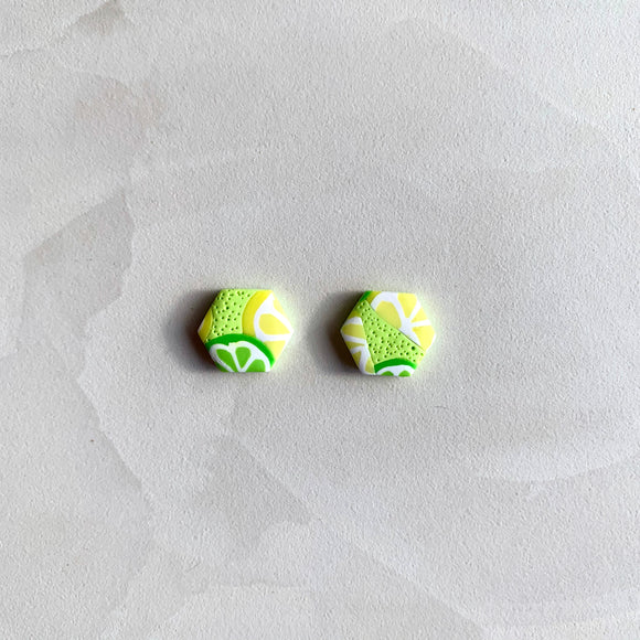 Medium Hexagonal Studs - Lemon and Lime