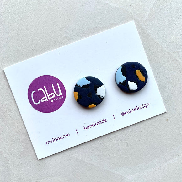Medium Studs - Navy Leopard