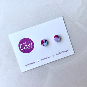 Mini Studs - Purple Leopard