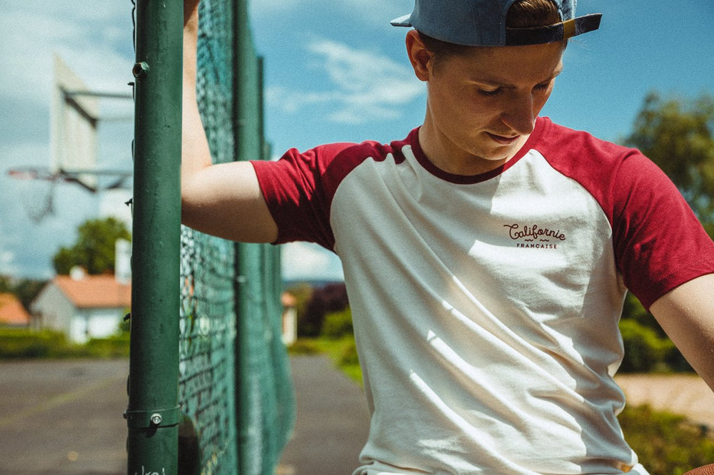 T-shirt Baseball Burgundy Cream
