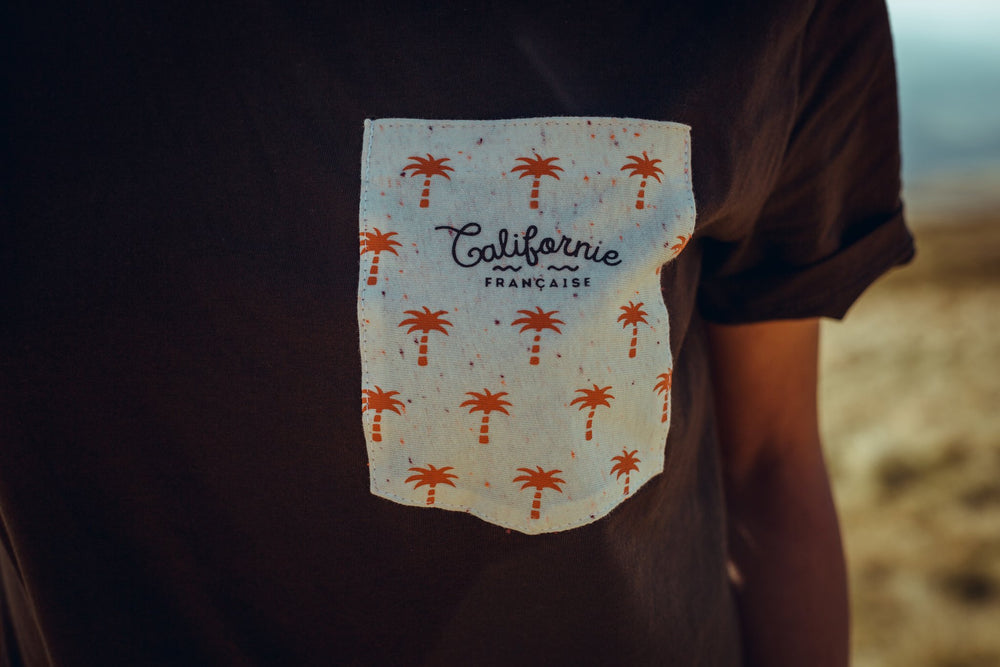 T-shirt Pocket Palms Chocolate