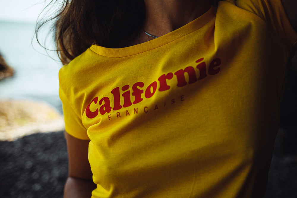 Women T-shirt Red Logo - Yellow