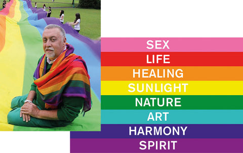 Collage of Gilbert Baker and the original pride flag.