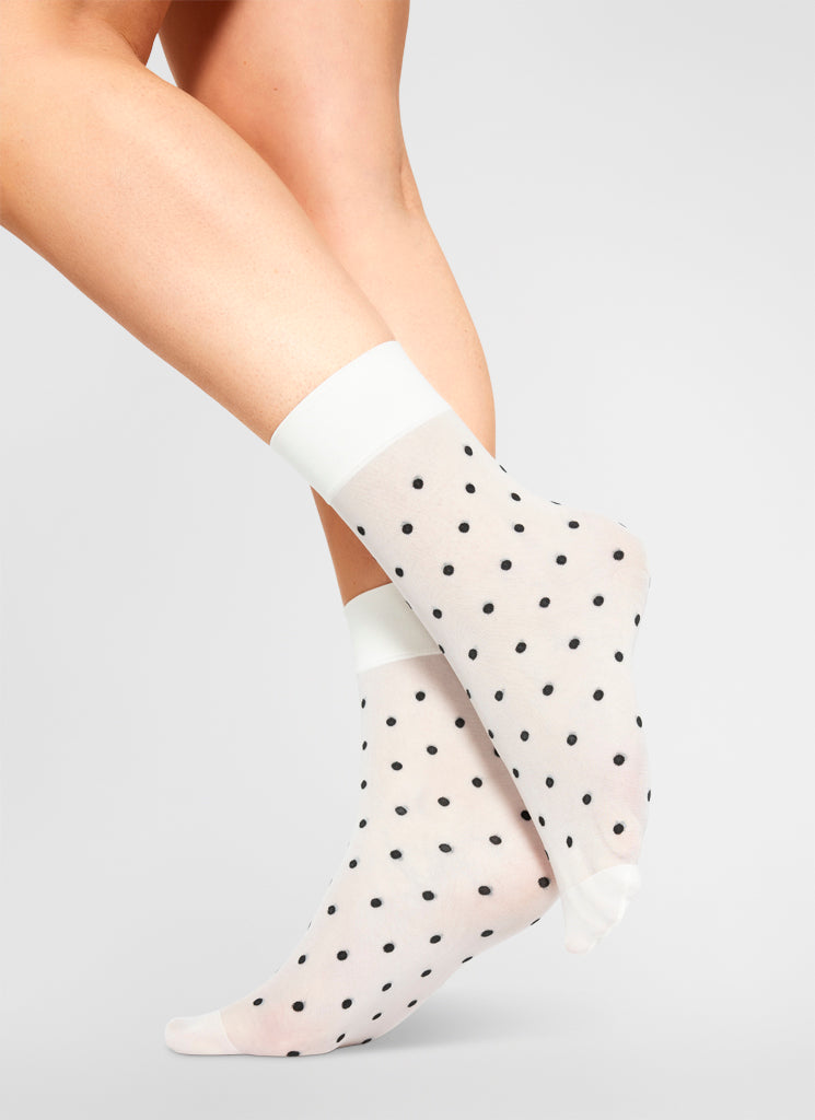 EVA DOT SOCKS IVORY/BLACK