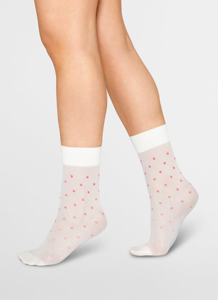 EVA DOT SOCKS IVORY/PINK