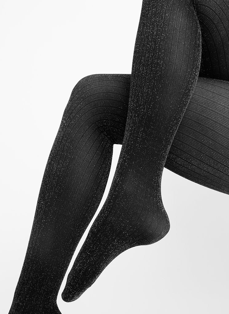 LISA LUREX RIB TIGHTS BLACK/SILVER