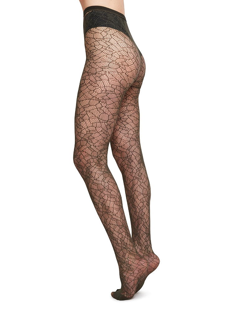 EDITH LACE TIGHTS DARK OLIVE