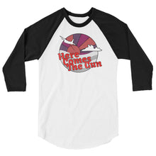Here Comes The Gun 3/4 sleeve raglan shirt