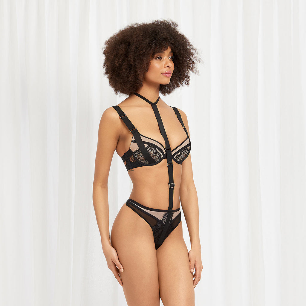 Liya Harness-string Rose Dust/Schwarz