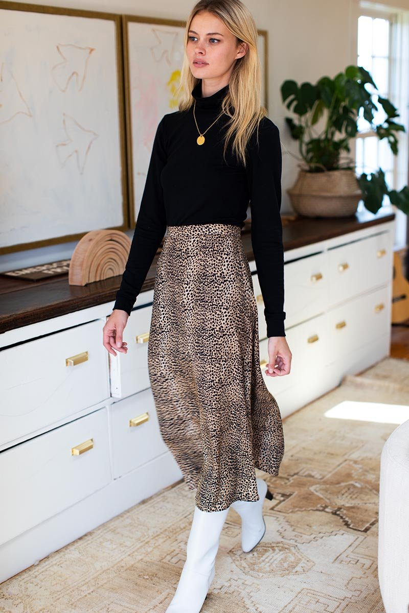 Silk Midi Skirt in Little Cheetah