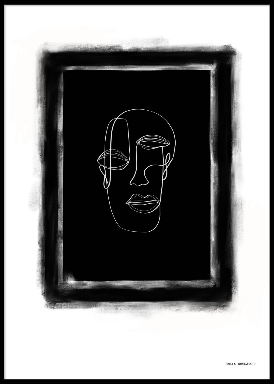 BLACK FACE LINES POSTER