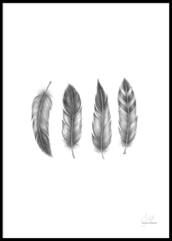 HAND-PAINTED FEATHERS POSTER