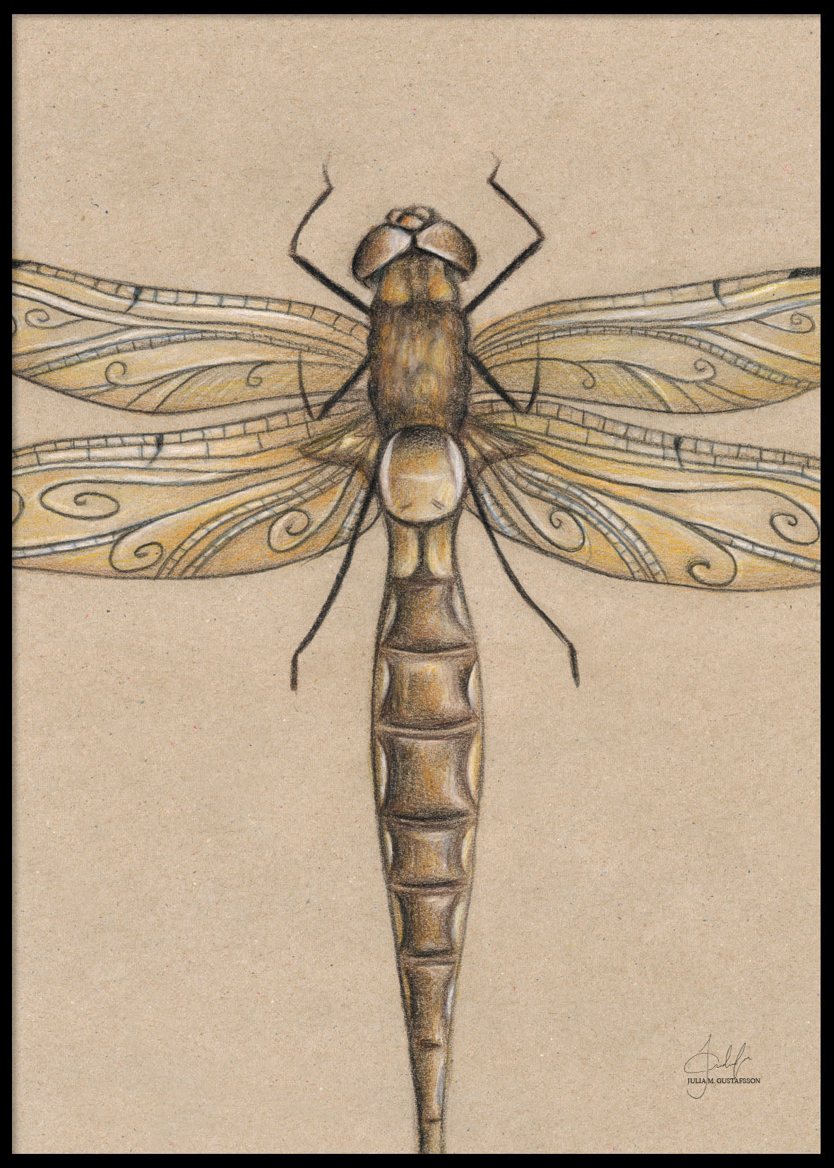 HAND-PAINTED DRAGONFLY POSTER