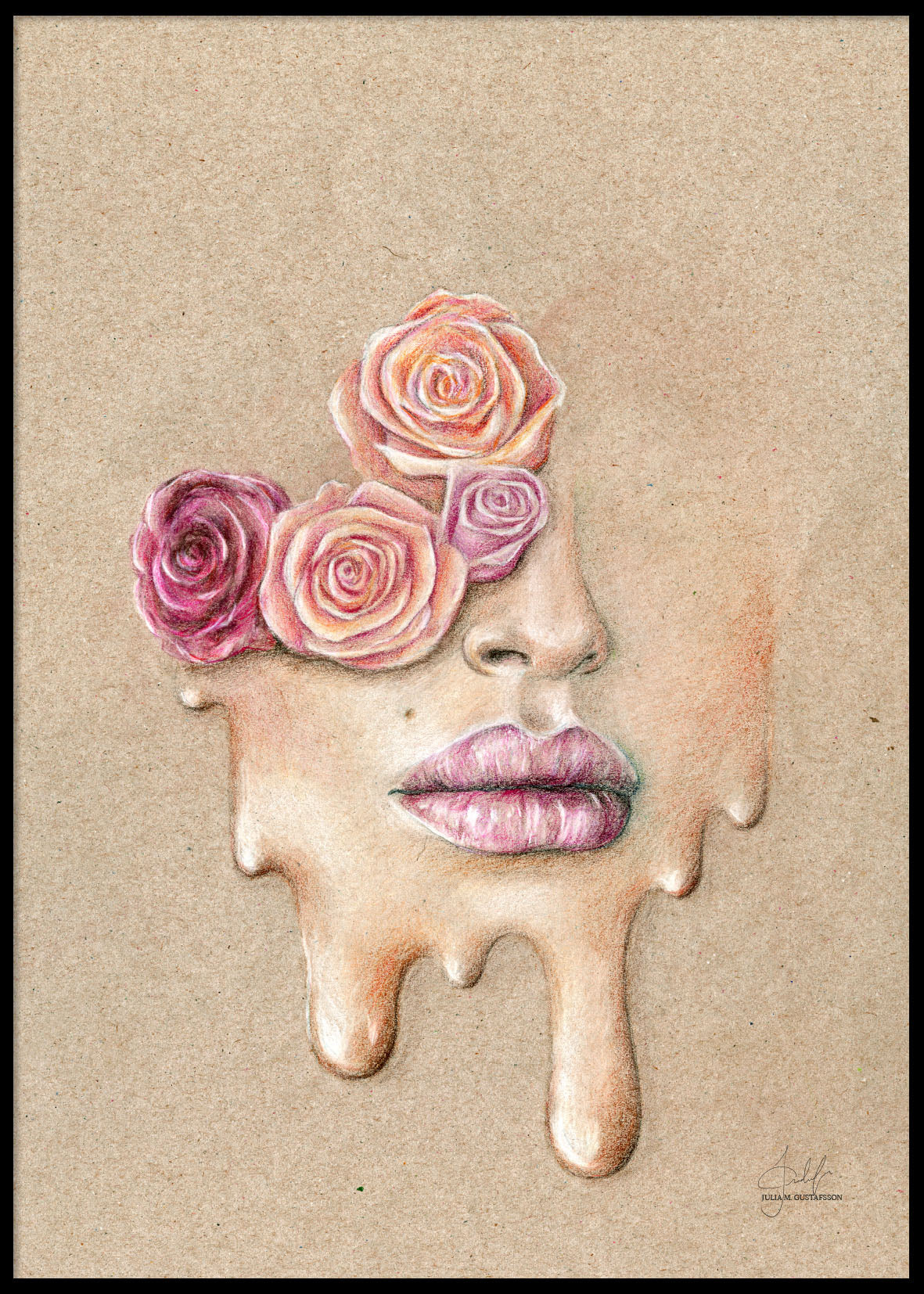 HAND-PAINTED FLOWER FACE POSTER