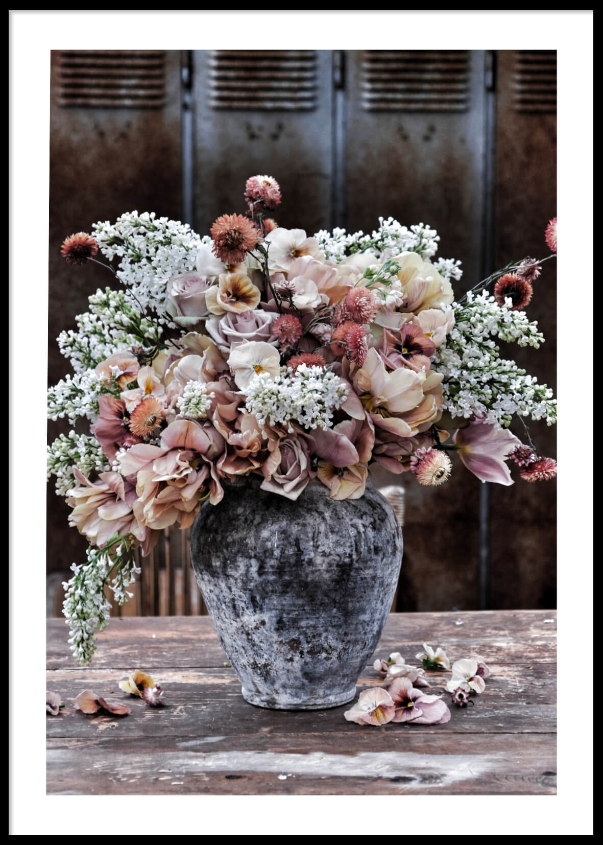 RUSTIC VASE WITH FLOWERS POSTER