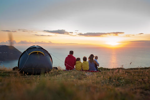 Family camping with baby