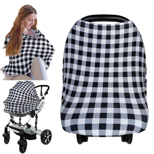Carseat Canopy - Nursing Cover (Gingham)