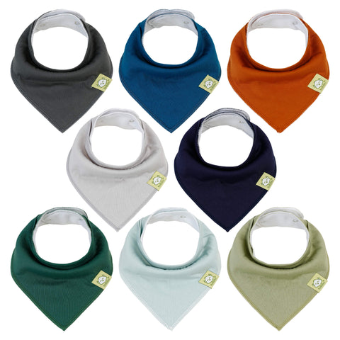 8-Pack Organic Bandana Bibs (Hunter)