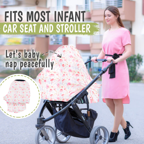 Carseat Canopy - Breastfeeding Nursing Cover (Dainty Bloom)