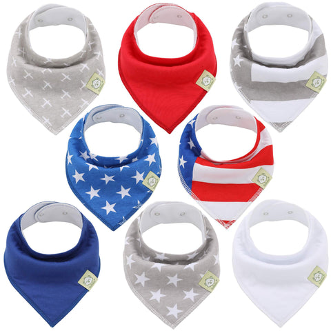 8-Pack Organic Bandana Bibs (US of A)