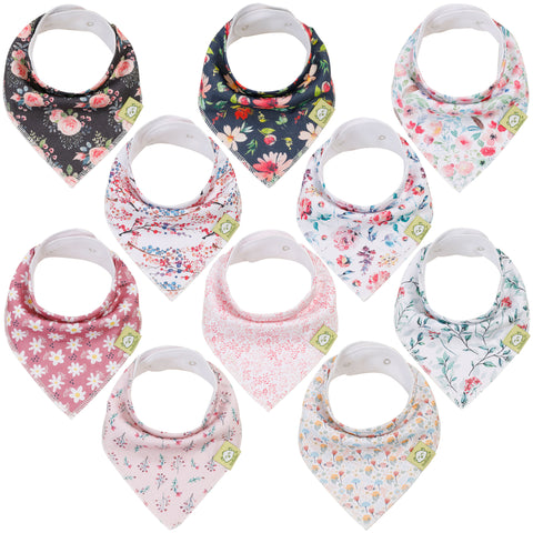 10-Pack Organic Bandana Bibs (Girls)