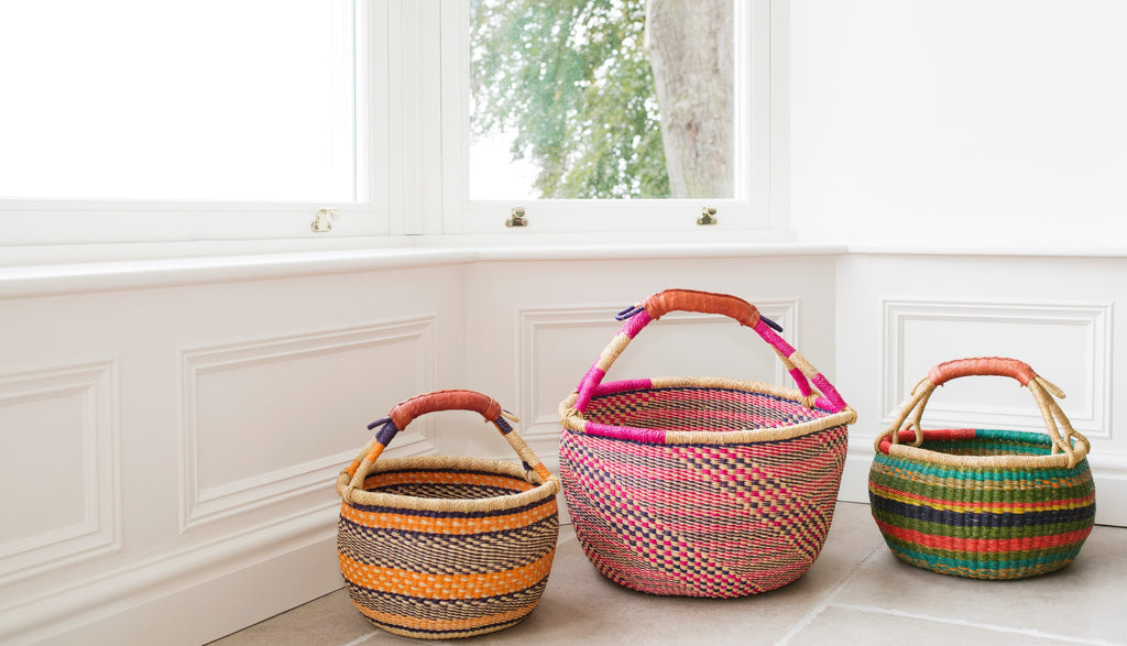 Bolga Baskets each one unique in lovely colours and patterns
