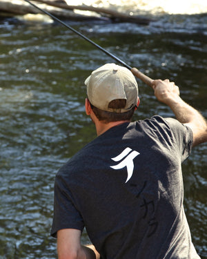 "Tenkara t-shirt with the te symbol, first character of the word ""tenkara"", テンカラ"
