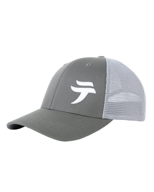 Load image into Gallery viewer, Tenkara trucker hat, featuring the Tenkara USA logo, which is based on the first character of the Japanese word tenkara テンカラ