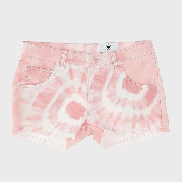 Fringed shorts with pink tie dye print