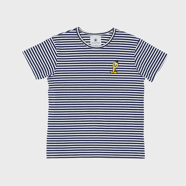 WHITE BLUE STRIPED TITTI T-SHIRT