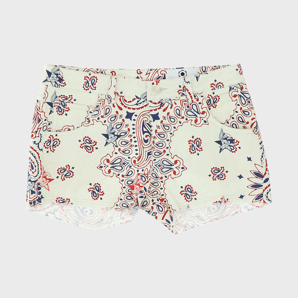 Fringed shorts with ivory Bugs Bunny bandana print